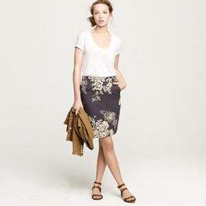 J. Crew Mirabel Embroidered Pencil Skirt w Pockets